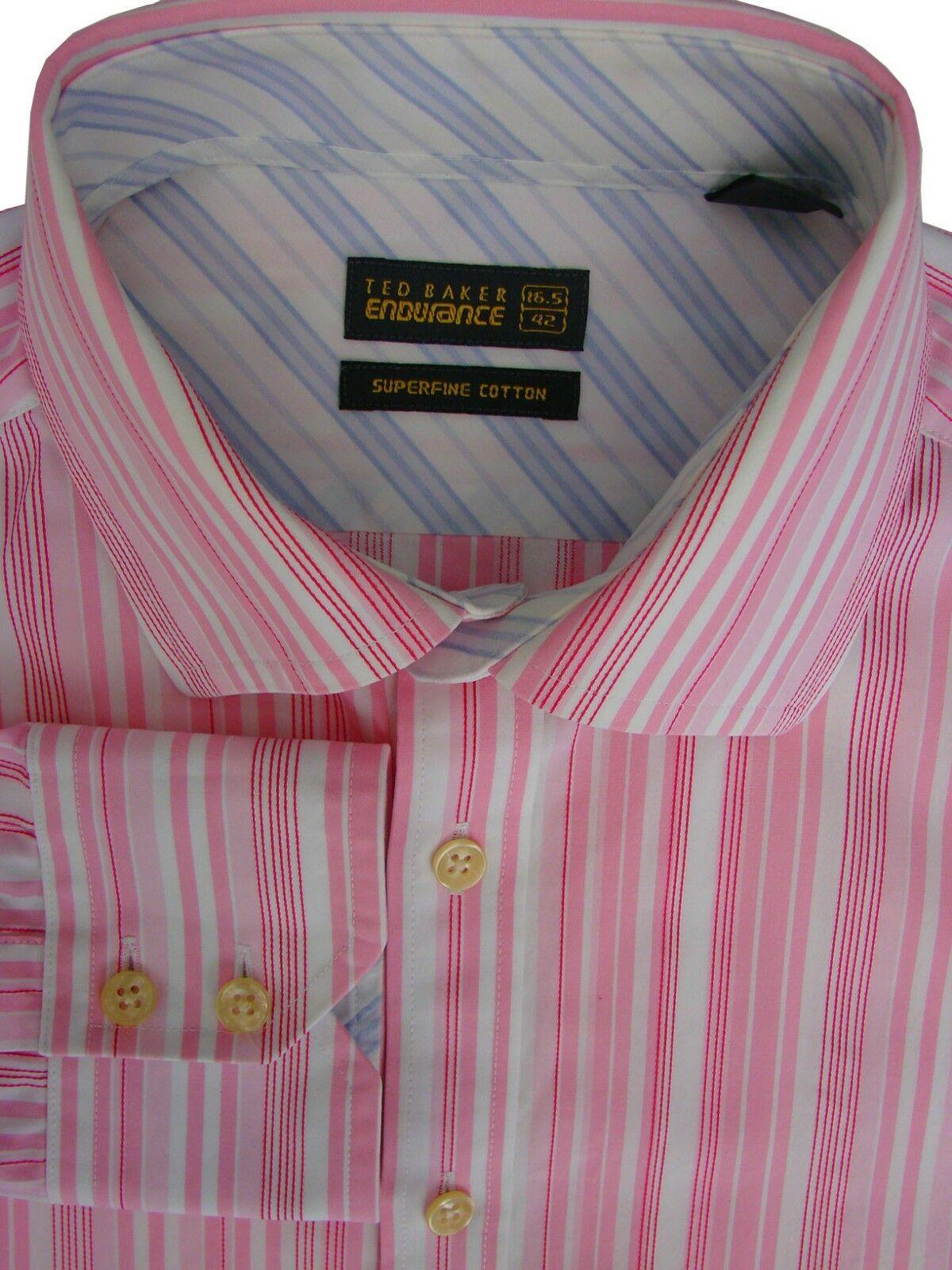 6618e822f799 TED BAKER ENDURANCE Shirt Mens 16 M Pink   White Stripes - Brandinity
