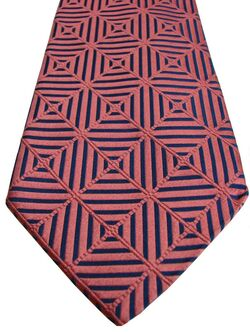 MALCOLM LEVENE Mens Tie Blue & Pink Stripes & Check - SHIMMERY