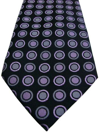 HAINES & BONNER Mens Tie Black - Lilac Polka Dots