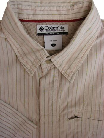 COLUMBIA Shirt Mens 17 L Creamy White - Stripes CONCEALED BUTTONS SHORT SLEEVE