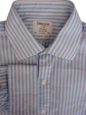 TM LEWIN 100 Shirt Mens 16 M Blue & White Quad Stripes