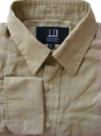 DUNHILL Shirt Mens 14.5 S Gold & Blue HOUNDSTOOTH