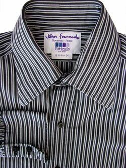 390ce1699a JOHN FRANCOMB TM LEWIN Shirt Mens 15 S Black Grey Stripes ROVERETO FITTED