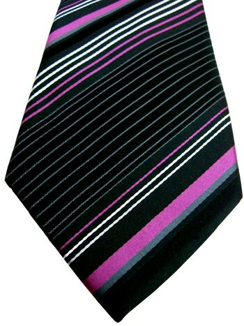 MARKS & SPENCER M&S AUTOGRAPH Tie Black - White & Pink Stripes