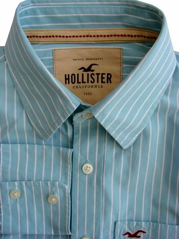 HOLLISTER Shirt Mens 16 S Turquoise – White Stripes