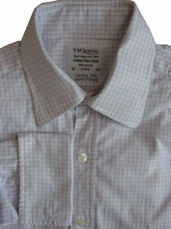 TM LEWIN 100 Shirt Mens 15 S White – Lilac Check SEMI FITTED
