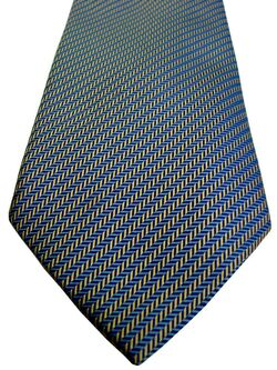 CHARLES TYRWHITT Mens Tie Blue & Yellow HERRINGBONE Stripes