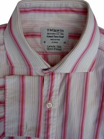 TM LEWIN 100 Shirt Mens 15.5 M White – Pink Stripes SEMI FITTED