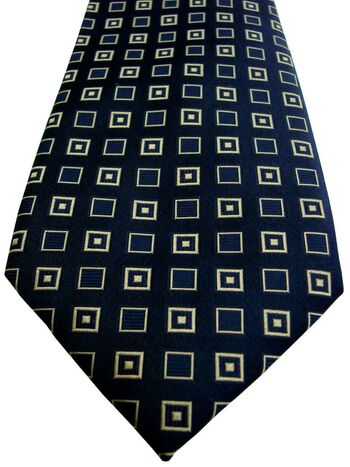 HAWES & CURTIS Tie Dark Blue – Gold Squares - SHIMMERY