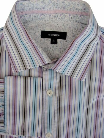 PETER WERTH Shirt Mens 15.5 M Multi-Coloured Stripes
