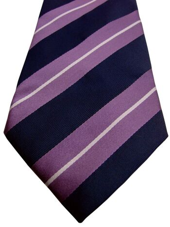 HILDITCH & KEY Mens Tie Purple Dark Blue & White Stripes