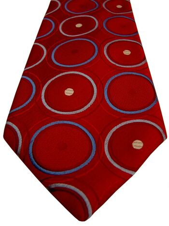 TM LEWIN Mens Tie Red – Concentric Multi-Coloured Polka Dots