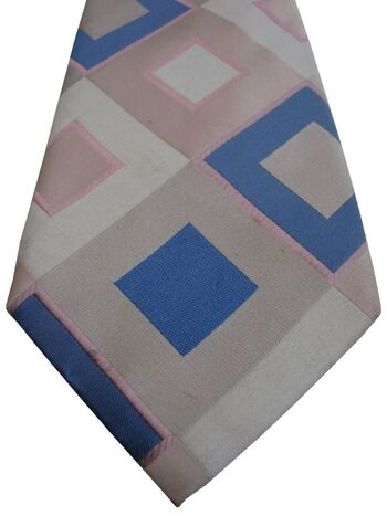 JOHN FRANCOMB TM LEWIN Mens Tie Blue & Pink Diamonds