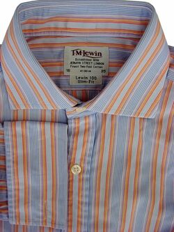 TM LEWIN 100 Shirt Mens 15.5 M Narrow Multi-Coloured Stripes SLIM FIT