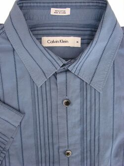 CALVIN KLEIN Shirt Mens 16 M Blue – Stripes - TEXTURED SHORT SLEEVE