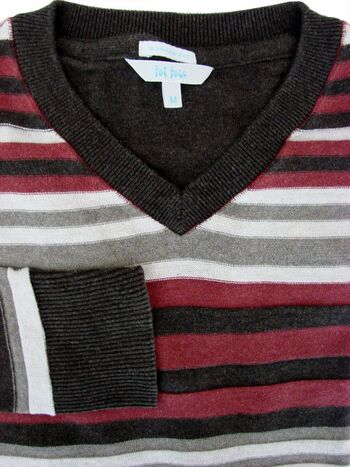 FAT FACE Jumper Mens M Burgundy Brown & Grey Stripes - TEXTURED