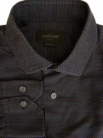 DUCHAMP LONDON Shirt Mens 15 S Black – Multi-Coloured Polka Dots TAILORED FIT