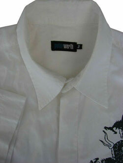PETER WERTH Shirt Mens 16 M White – Black Dragon SHORT SLEEVE