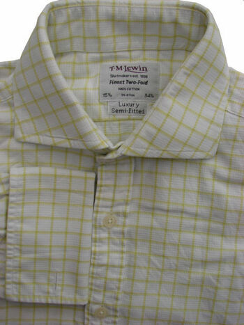 TM LEWIN LUXURY Shirt Mens 15.5 M White - Green Check SEMI FITTED