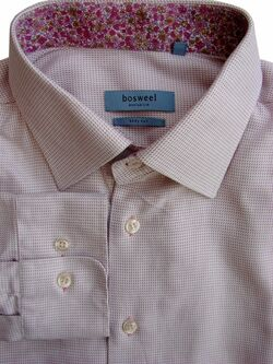 BOSWEEL EXCLUSIVE Shirt Mens 17 L Pink – Tiny Diamonds BODY CUT