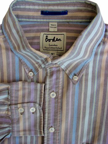 BODEN Shirt Mens 17 L Multi-Coloured Stripes