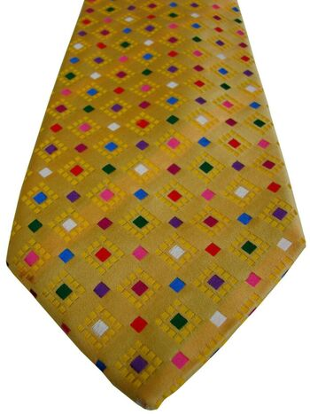 CHARLES TYRWHITT Mens Tie Yellow – Multi-Coloured Squares