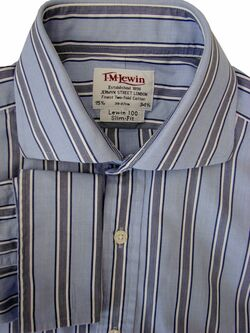 TM LEWIN 100 Shirt Mens 15.5 M Light Blue – Dark Blue & White Stripes SLIM FIT
