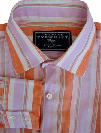 CHARLES TYRWHITT CASUAL Shirt Mens 15 S Orange - MC Stripes LIGHTWEIGHT NEW