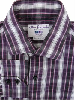 JOHN FRANCOMB TM LEWIN Shirt Mens 16 M Purple Black White Check MILAN SLIM FIT