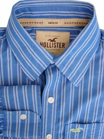 HOLLISTER Shirt Mens 15.5 S Blue – White Stripes SURFER FIT