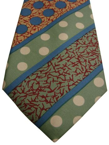 AUSTIN REED Mens Tie Multi-Coloured Polka Dots & Stripes