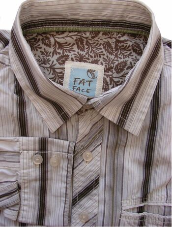 FAT FACE Shirt Mens 16.5 L Cream – Brown Stripes