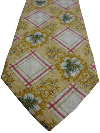 GUY LAROCHE Mens Tie Yellow – Flowers & Squares