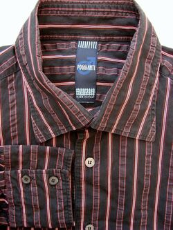 POGGIANTI Shirt Mens 16.5 L Black – TEXTURED Stripes