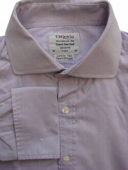 TM LEWIN 100 Shirt Mens 16 M Lilac SEMI FITTED