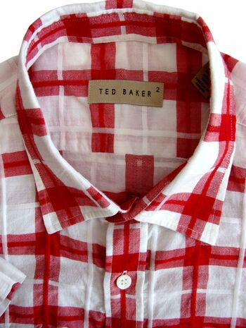 TED BAKER Shirt Mens 15.5 M White – Red Check SHORT SLEEVE