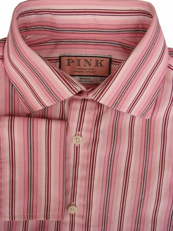 THOMAS PINK Shirt Mens 15 S Pink – Stripes