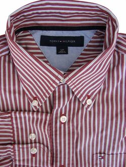 TOMMY HILFIGER Shirt Mens 15.5 M Brown – Light Blue Stripes