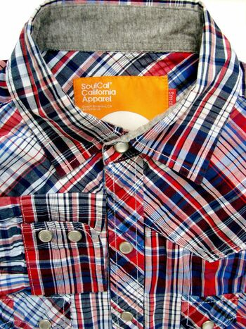 SOULCAL Shirt Mens 15 S Red White & Blue Check POPPERS