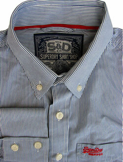 SUPERDRY Shirt Mens 16 M Blue & White Stripes