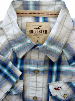 HOLLISTER Shirt Mens 16 S White - Multi-Coloured Check SHORT SLEEVE