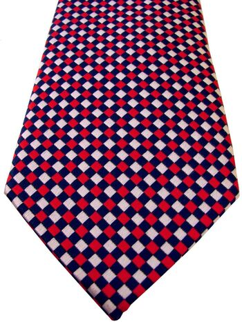TM LEWIN Mens Tie Red White & Blue Squares NEW