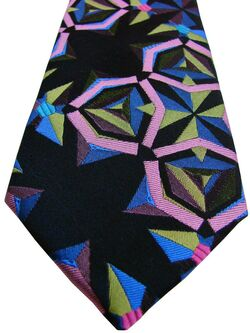 HOWICK Mens Tie Multi-Coloured Shapes SKINNY