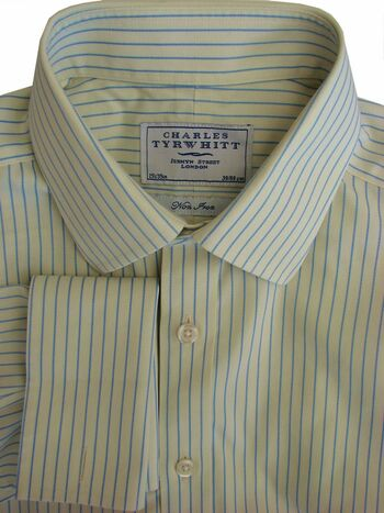CHARLES TYRWHITT Shirt Mens 15.5 M Yellow – Blue Stripes NON IRON