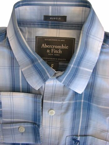 ABERCROMBIE & FITCH Shirt Mens 15.5 S Blue - Check MUSCLE