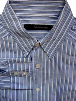 CALVIN KLEIN Shirt Mens 15 S Blue – Black & White Stripes