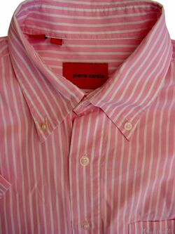 PIERRE CARDIN Shirt Mens 16 M Pink & White Stripes SHORT SLEEVE