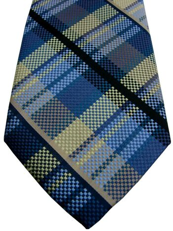 BEN SHERMAN Mens Tie Black Green & Blue Check