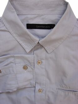 CALVIN KLEIN Shirt Mens 15 S Light Blue Narrow Stripes