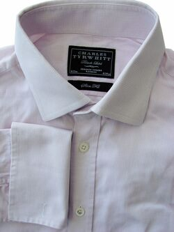 CHARLES TYRWHITT BLACK LABEL Shirt Mens 16 M Pink - Mini Squares SLIM FIT
